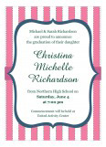 Pinstripe Graduation Pink Invitation