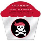 Ahoy Mates Cupcake Shaped Pirate Party Invitations
