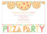 Haden is Turning Three Pizza Party Invitations