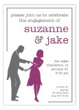 Plum Dancing Couple Silhouette Invitation