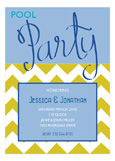 Pool Party Script Blue Invitation
