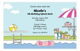 Pool Side Pink Bash Girls Pool Party Invites
