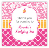 Preppy Lady Bug Square Sticker