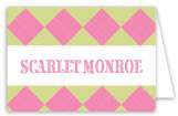 Preppy Pink Argyle Folded Note Card