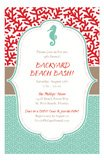 Coral Preppy Seahorse Nautical Invitations