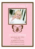 Pretty Pink Butterfly Photo Invitation