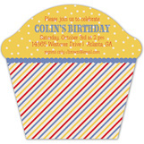 Primary Stripes Cupcake Invitation