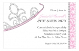 Jeweled Crown Sweet 16 Princess Invitations