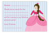 Princess Party Brunette Flat Note Card