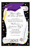 Purple Cap and Diploma Invitation