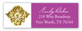 Purple Glitter Damask Address Label