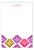 Purple Glitter Damask Flat Note Card