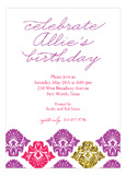Purple Glitter Damask Invitation