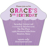 Purple Striped Cupcake Invitation