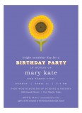 Purple Sunny Flower Birthday Invitation