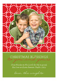 Quatrefoil Red and Green Photo Card