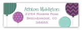 Radiant Orchid and Aqua Ballons Birthday Address Label