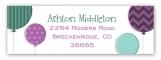 Radiant Orchid and Aqua Ballons Birthday Address Label