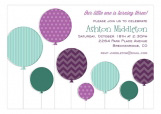 Radiant Orchid and Aqua Ballons Birthday Invitation