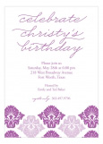 Radiant Orchid Damask Print Invitation