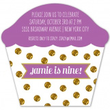 Radiant Orchid Glitter Cupcake Birthday Invitation