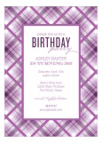 Radiant Orchid Plaid Invitation