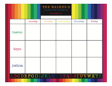 Rainbow Homework Calendar Pad