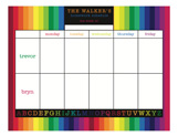 Rainbow Homework for 2 Calendar Pad