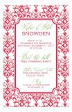 Red Damask Holiday Pattern Invitation