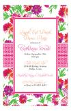 Watercolor Floral Hot Pink Orange Brunch Birthday Party