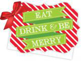Eat Drink and Be Merry Die-Cut Tie-Up Invitation