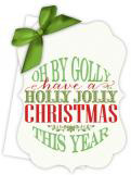 Holly Jolly Christmas Die-Cut Tie-Up Invitation