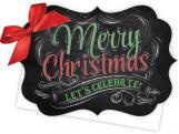 Merry Christmas Chalkboard Die-Cut Tie-Up Invitation