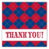 Red and Blue Argyle Square Sticker