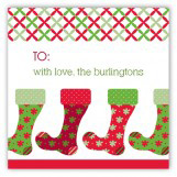Red and Green Fun Stockings Square Sticker