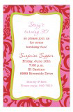 Red and Pink Floral Frame Invitation