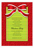 Red and White Bow on Swirls Invitation