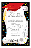 Red Cap and Diploma Invitation