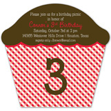 Red Checkered Cupcake Invitation