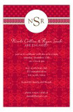 Red Damask Monogram Invitation