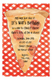 Red Gingham Pizza Party Invitation