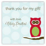 Red Holiday Hoot Square Sticker