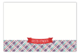 Red Plaid Banner Flat Note Card