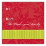 Red Snowy Grosgrain Gift Tag
