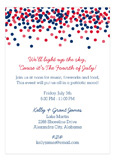 Red White and Blue Confetti Fourth of July Invitations
