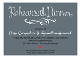 Rehearsal Dinner Script Charcoal Invitation
