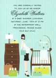 Retro Blue Baby Room Invitation