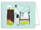 Retro Blue Baby Room Thank You Card