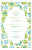 Retro Blue Green Flowers Invitation