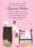 Retro Pink Baby Room Invitation